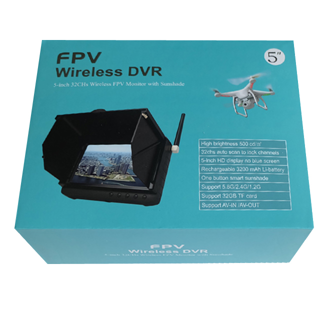 5.8GHz 32CHS 5inch Wireless Mini Monitor DVR With Sun Shield